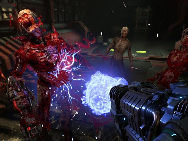 A destructible demon featured during the 20-minute Doom Eternal trailer previewed at Quakecon at the weekend. Picture: Screengrab from trailer.