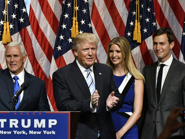 Presumptive Republican presidential candidate Donald Trump introduces his newly selected vice presidential running mate, Mike Pence, governor of Indiana at the Hilton Midtown Hotel, alongside daughter Ivanka Trump and son-in-law Jared Kushner. Picture: Splash