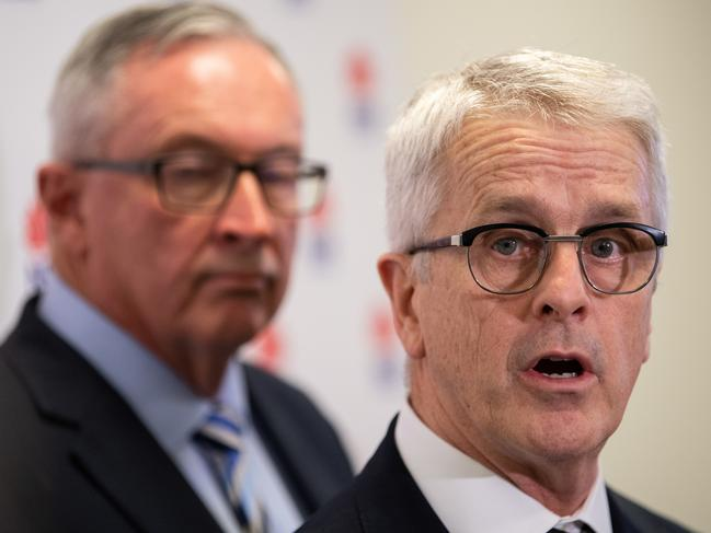 Professor Dominic Dwyer (NSW Health Pathology) (right) speaking at a press conference alongside NSW Minister of Health Brad Hazzard (left) outlining a research breakthrough in Coronavirus. Picture: James Gourley/AAP