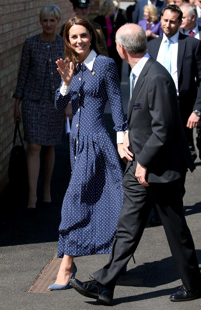 Spot the dress! Kate wore the same Alessandra Rich dress that Meghan Markle's BFF Jesscia Mulroney wore to the royal wedding last May. Picture: MATRIX