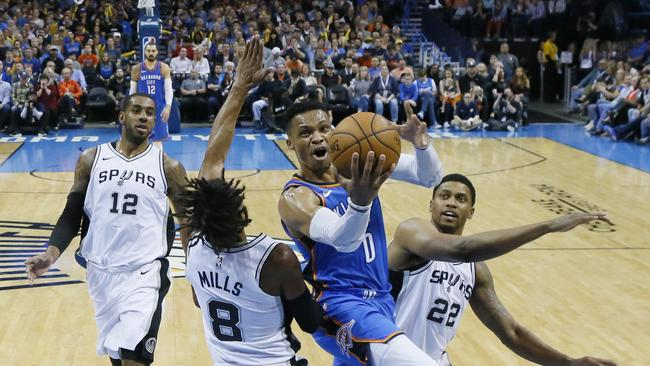 Russell Westbrook records his 98th career triple-double vs. the San Antonio Spurs.