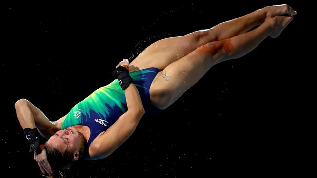 Melissa Wu captured in action of the 10m diving final.