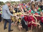 Prince William, Duke of Cambridge greets children as he visits the work of the Wave Project on Newquay's Towan Beach, an organisation that uses surfing as a tool to reduce anxiety in children and improve their mental wellbeing on September 1, 2016 in Newquay, United Kingdom. Picture: Getty