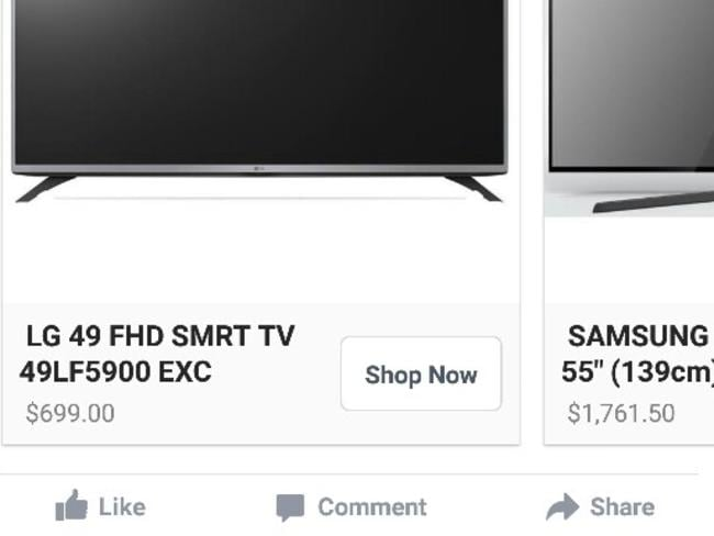 Not such a hot deal after all ... Mái Medina's television, still advertised on Facebook, failed to show up.