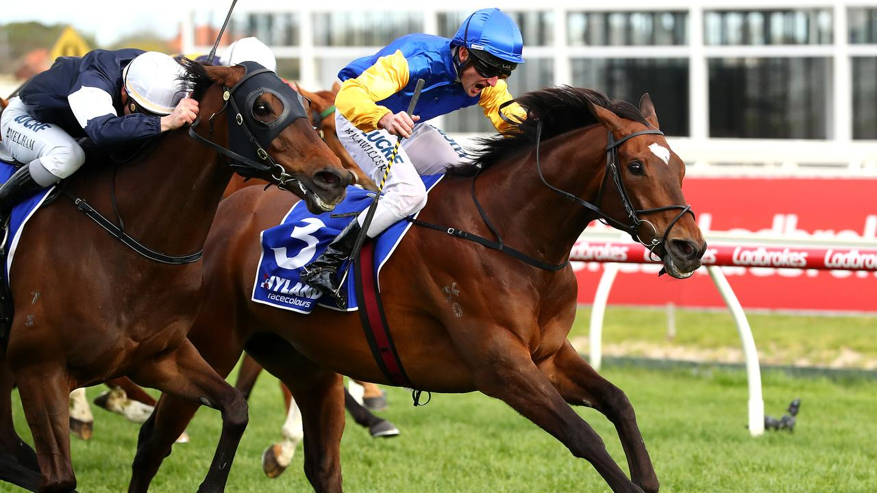 Brad Rawiller rode Black Heart Bart to win the Hyland Race Colours Underwood Stakes at Caulfield