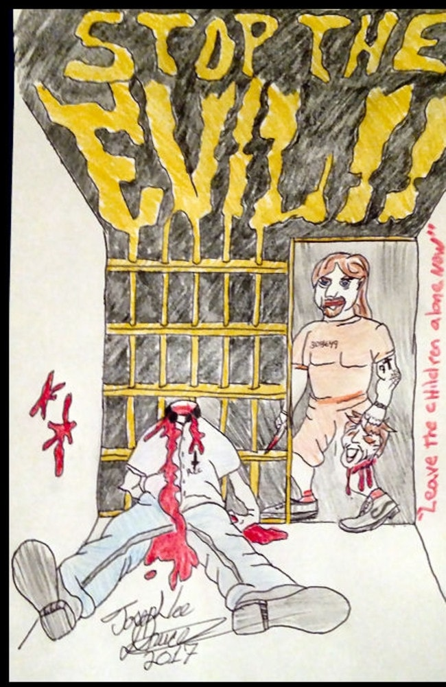 A drawing sent from prison to Eric Holler from convicted killer Joseph Druce.