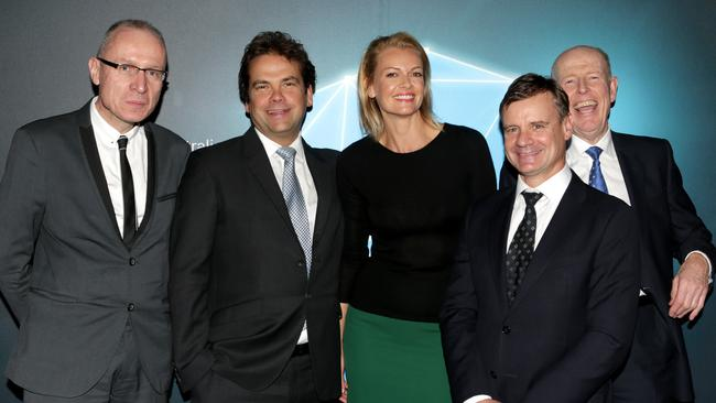 Robert Thomson CEO News Corp Global, Lachlan Murdoch Co Chairman News Corp Australia and his wife Sarah, Richard Freudenstein Foxtel Australia CEO and Julian Clarke CEO News Corp Australia / Picture: Stephen Cooper