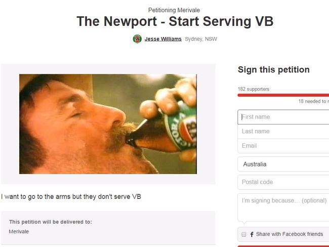 A change.org petition calling for a Sydney pub to start serving VB.