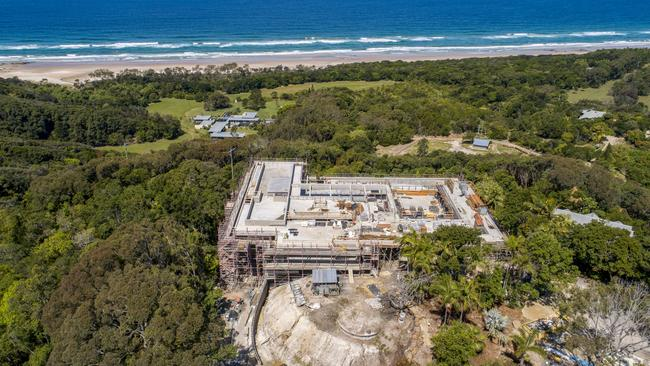 The major building works seem to be nearly complete at the site of Chris Hemsworth's mega mansion at Broken Head, near Byron Bay. Picture: Media Mode