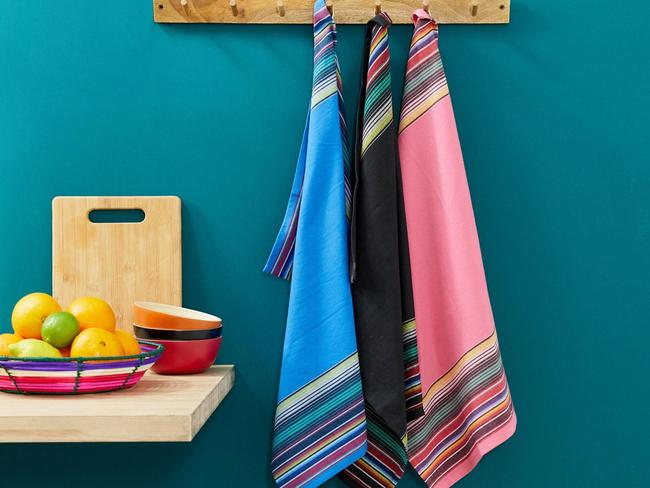 Striped woven tea towels, $16 for a pack of three.