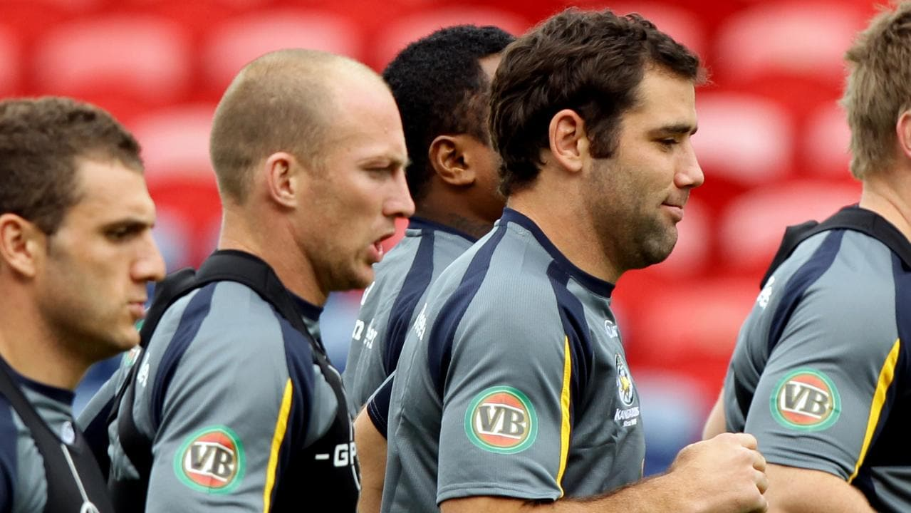 Cameron Smith and Darren Lockyer during a Kangaroos camp.