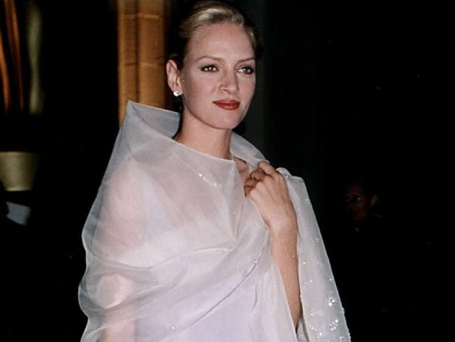 Uma Thurman at the Oscars in 1995. Picture: Supplied