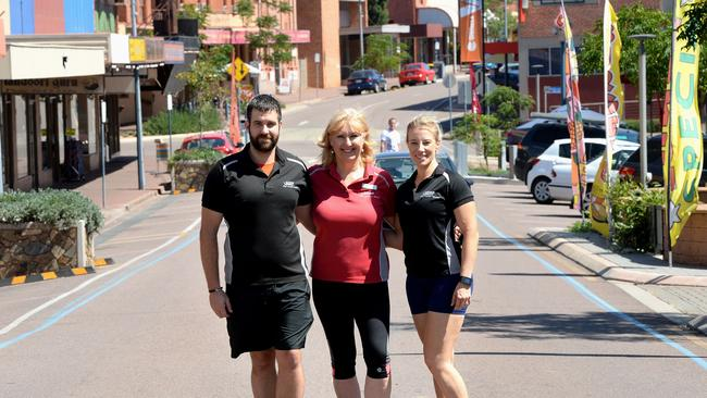 A town with a healthy future ... Snap Fitness at Whyalla staff Phillip Knibbs, Joanne Marshall and Emma Skeldon on the town's main street in 2017. Picture: Greg Higgs