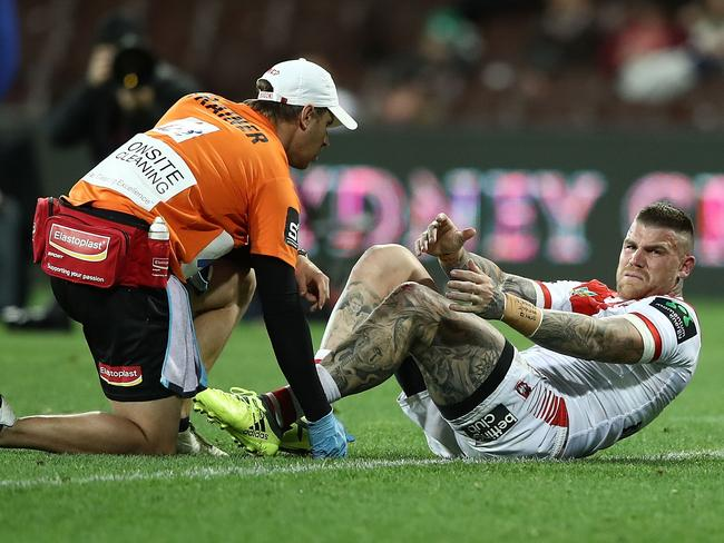 Josh Dugan of the Dragons is injured.