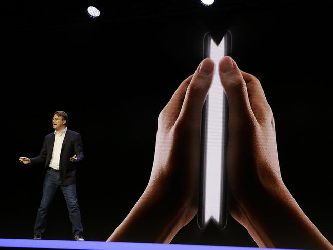 The Samsung device can also be opened like a book to reveal a 7.3-inch display. Picture: AP