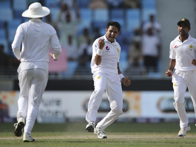 Pakistan's Mohammad Abbas celebrates another wicket.