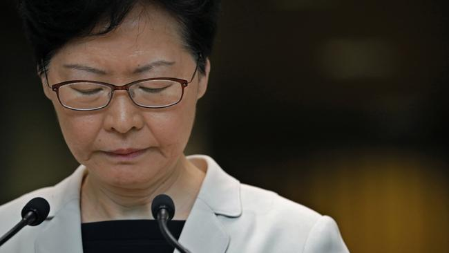 Hong Kong Chief Executive Carrie Lam has revealed she met with a group of protesters. Picture: AP