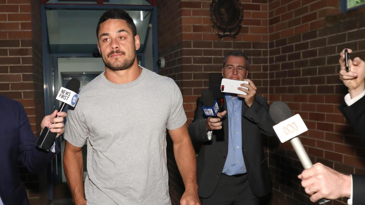 Jarryd Hayne as he arrives at Castle Hill police station.