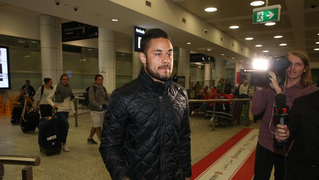 Jarryd Hayne arrives at Sydney Airport from Fiji.
