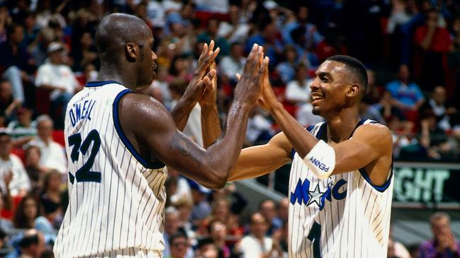 Shaquille O'Neal and Anfernee Hardaway celebrate during a game against the Minnesota Timberwolves in 1995. Picture: Fernando Medina/NBAE via Getty Images