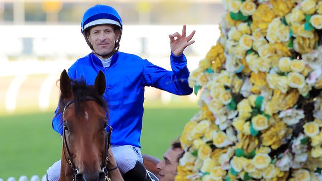 Not only is Hugh Bowman a likely jockey selection, but so too is the horse he's pictured on here, Bivouac, who won the Golden Rose at Rosehill Gardens on September 28, 2019