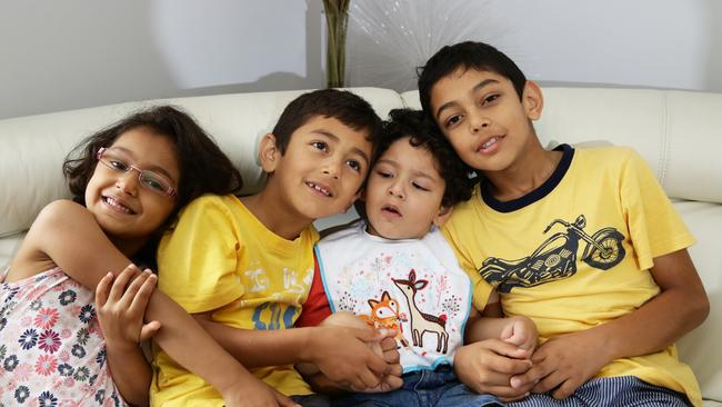 Kush is very much loved by his siblings. From left: Harshi, Jayan, Kush and Pranav.