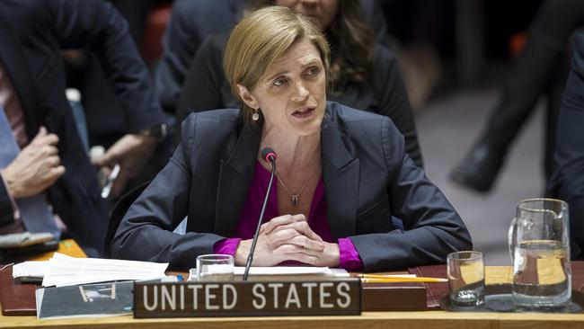 Samantha Power addresses the United Nations Security Council after the vote on condemning Israel's settlements. (Pic: Manuel Elias/The United Nations via AP)