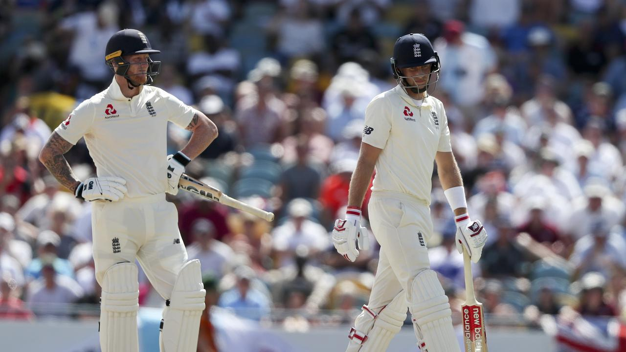 England captain Joe Root walks off after being trapped lbw for four.