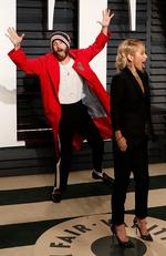 Jared Leto photo bombs Kelly Ripa at the 2017 Vanity Fair Oscar Party on February 26, 2017 in Beverly Hills, California. Picture: Getty