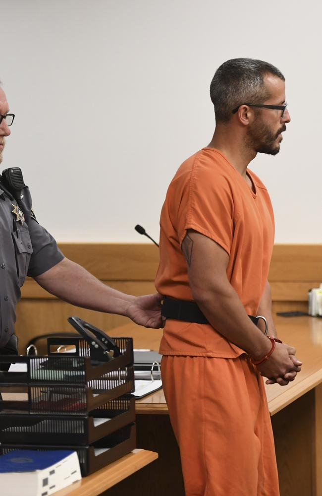 Christopher Watts was shackled in court. Picture: The Denver Post via AP