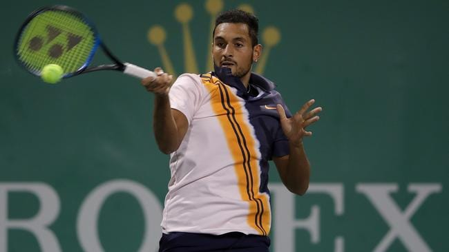 Nick Kyrgios in action at the Shanghai Masters.