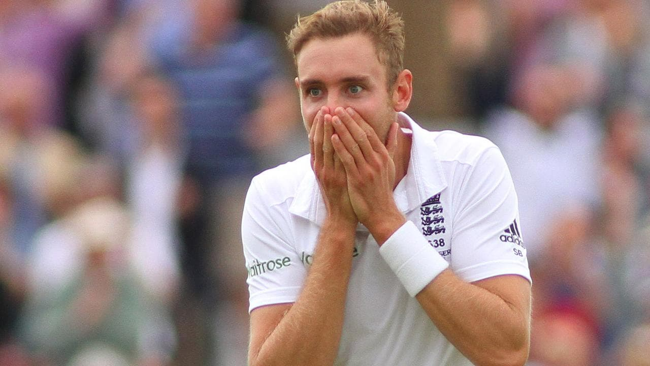 Stuart Broad's infamous reaction as he ran through Australia's line-up in 2015 at Trent Bridge.