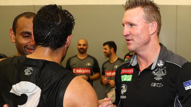 Nathan Buckley congratulates Daniel Wells after the match. Picture: Getty Images
