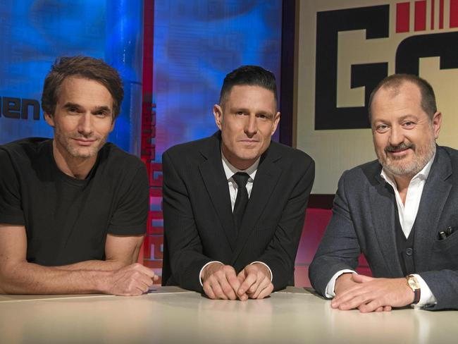 Todd Sampson, Wil Anderson and Russel Howcroft on Gruen. Picture: ABC