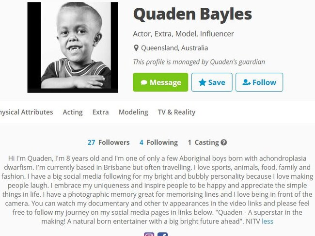 People have attempted to use Quaden's past acting and modelling experience to fuel the vicious rumour. Picture: Star Now