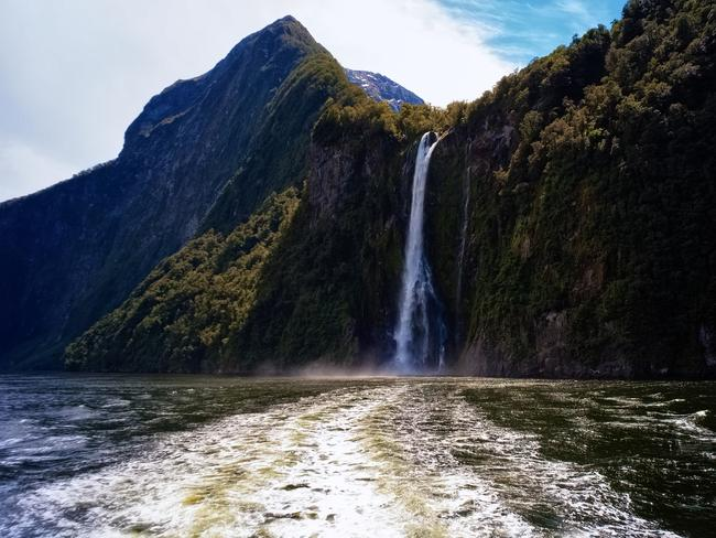 One of the many waterfalls to be found in Milford Sound.