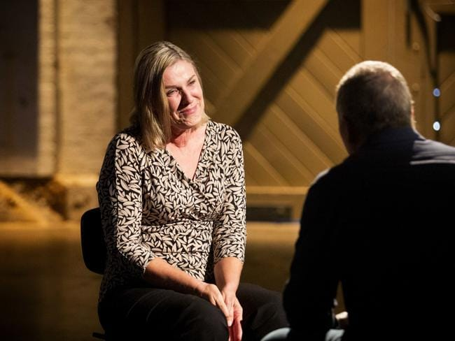Sue sits down and stares at her estranged husband for five minutes as part of the social experiment. Picture: SBS