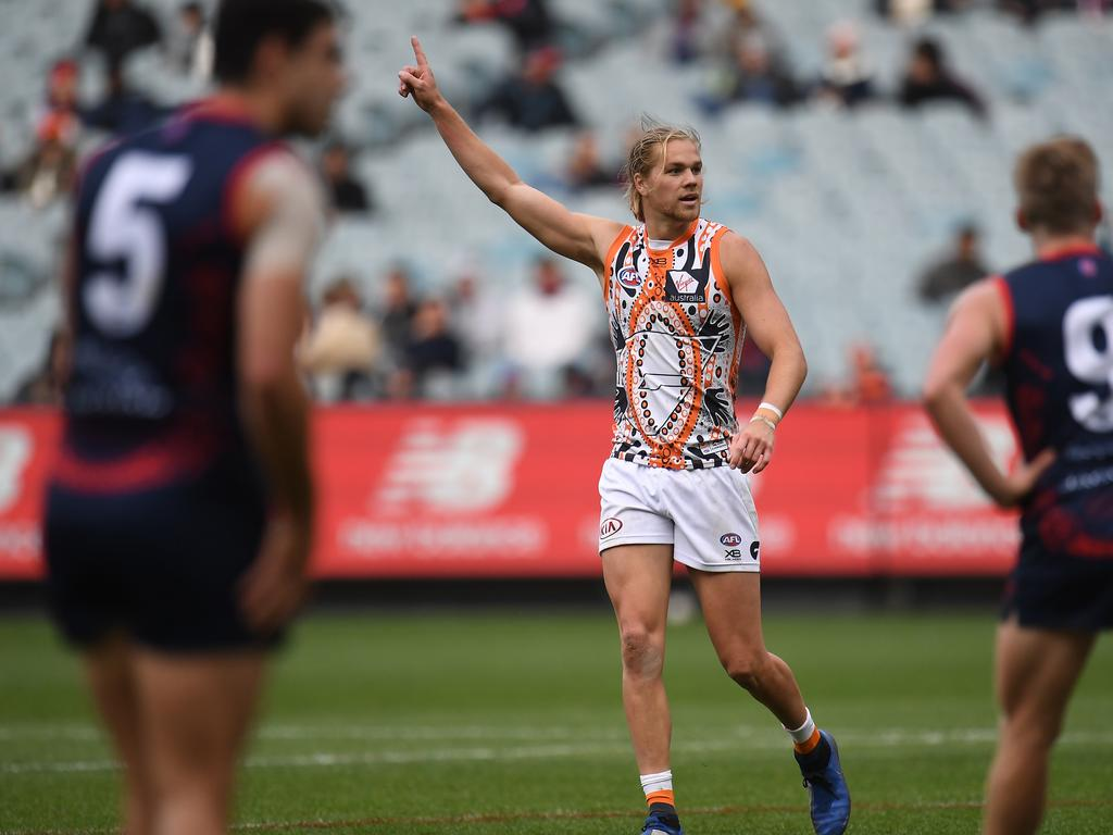 Harrison Himmelberg of the Giants (centre) reacts after kicking a goal during the Round 10 AFL match between the Melbourne Demons and the GWS Giants at the MCG in Melbourne, Sunday, May 26, 2019. (AAP Image/Julian Smith) NO ARCHIVING, EDITORIAL USE ONLY