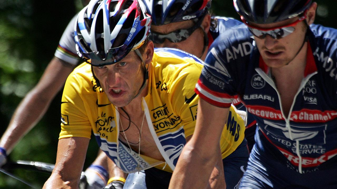Armstrong with teammate Floyd Llandis during the 2004 Tour de France.
