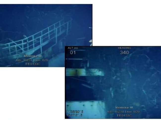 Sonar images of Shipwreck #3, showing the fishing vessel's deck railing and nets. Picture: ATSB