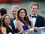 Cindy Crawford waves as Rande Gerber smiles from a boat, as they go to George Clooney's wedding with Amal Alamuddin, in Venice, Italy on Saturday, September 27th 2014. Picture: AP