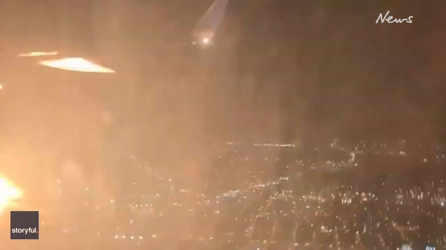 Flames seen coming from engine of United Airlines plane