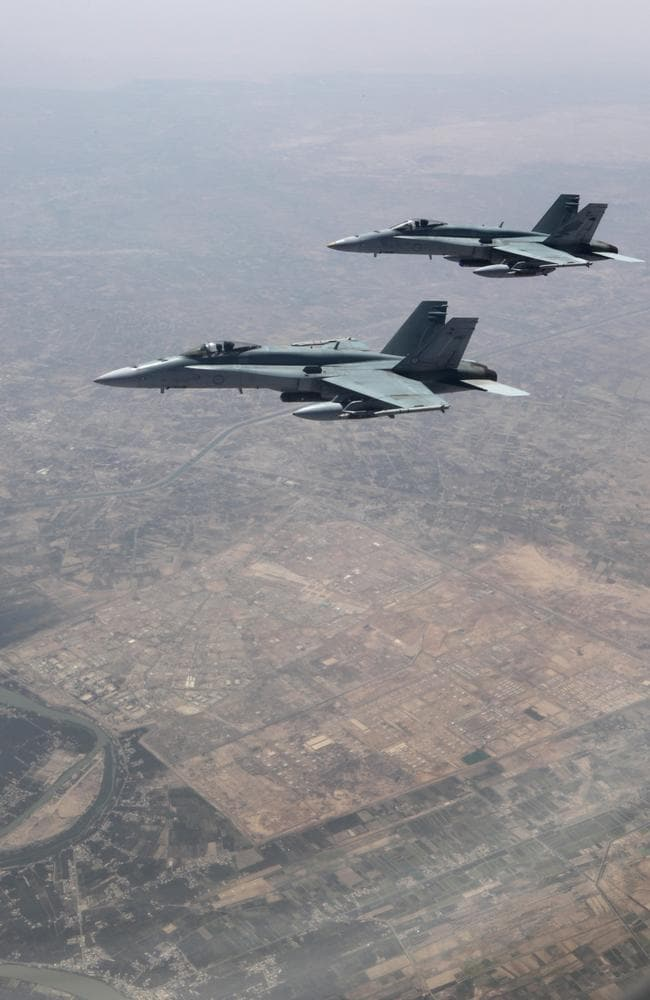 Australia's Task Group 630, operating over Mosul, comprises six RAAF F/A-18 Hornets, an E-7A Wedgetail Airborne Early Warning and Control aircraft and a KC-30A Multi-Role Tanker Transport aircraft. Picture: Defence