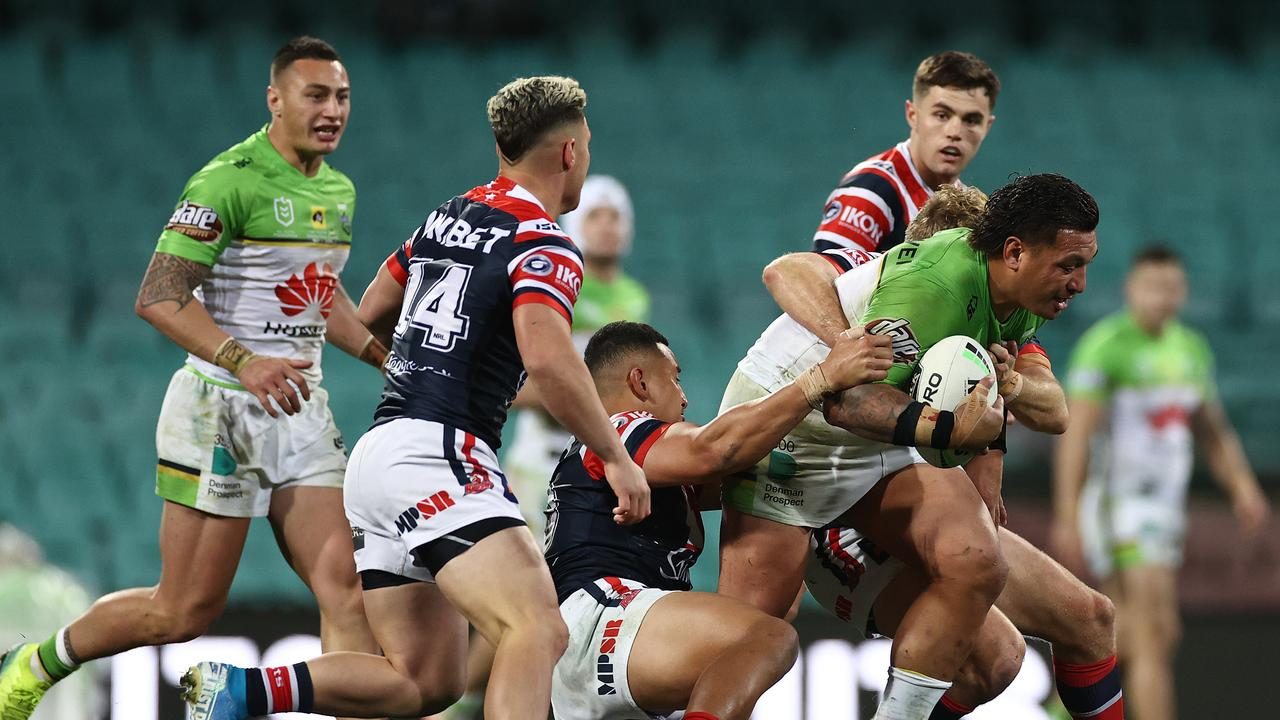 Josh Papalii on the charge against the Roosters