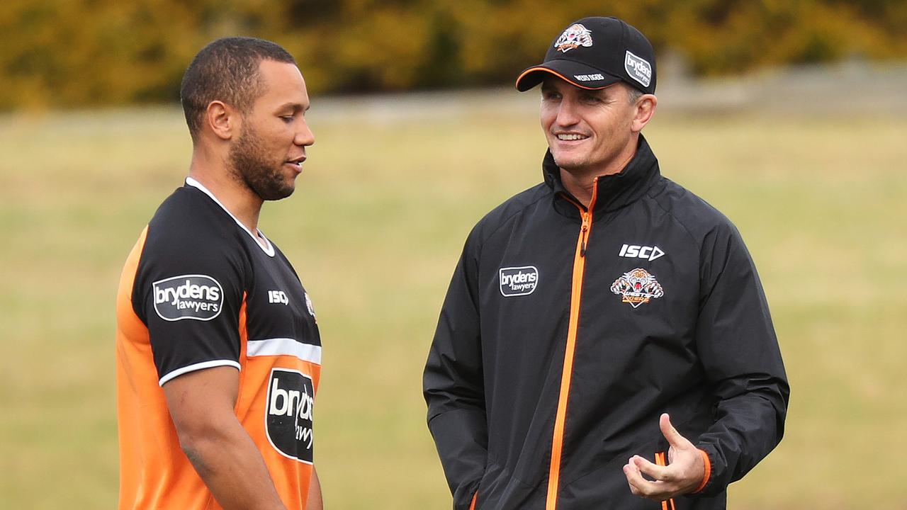Wests Tigers coach Ivan Cleary talks with Moses Mbye after it emerged the Panthers were keen to lure him. Picture: Brett Costello