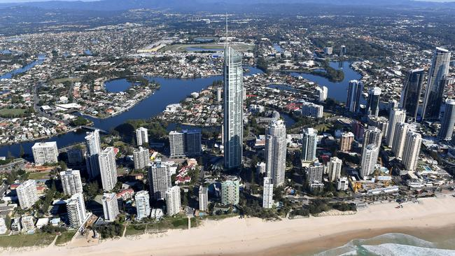 An aerial view of residential apartments and housing on the Gold Coast. Image: AAP/Dave Hunt.