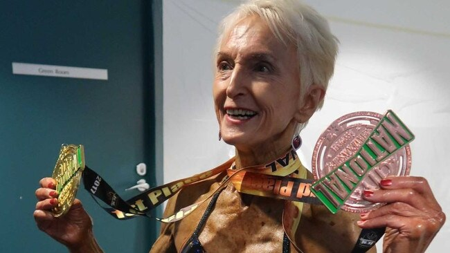 Here she is showing off her medal at the 2017 NSW championships 70 + category.