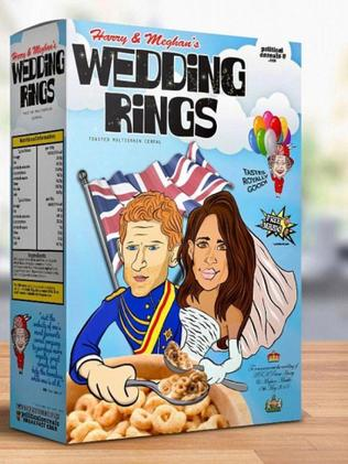 Start May 19 the right way with this special royal wedding cereal that costs $75 from Etsy. Photo: Supplied