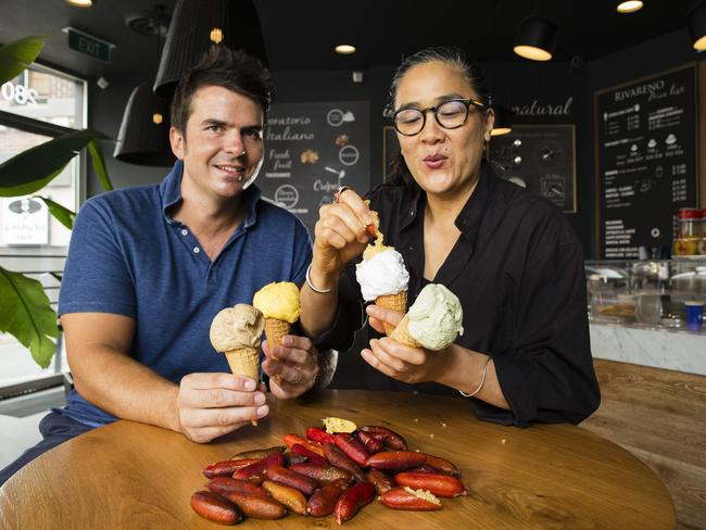 Kieran Tosolini, owner of RivaReno Gelato, with Kylie Kwong who will be creating special Asian-inspired gelato flavours for the Night Market celebrating Chinese New Year at Carriageworks on Saturday 27. Picture: Justin Lloyd
