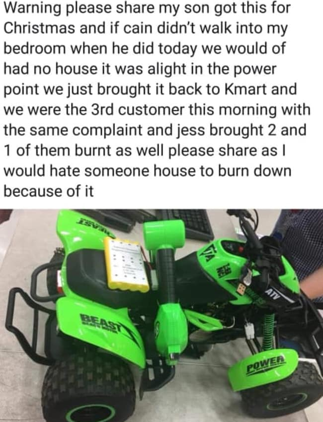 9fe5c219907 One mum said the malfunctioning toy could have burnt down her house if the  fire wasn